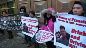 Family protest at sentencing hearing for drunk driving accused