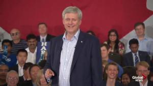 Harper repeats familiar themes in attacks on Trudeau, Mulcair