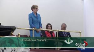 Premier Wynne in Alberta legislature