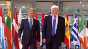 Trump arrives in Brussels for 1st NATO summit