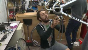A do-it-yourself bicycle repair shop created by students for students