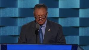 Reverend Jesse Jackson raises DNC faithful out of their seats with unique Hillary chant