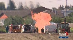 Ruptured gas line leads to fire west of Edmonton