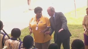 RAW: George W. Bush dances to New Orleans school marching band during Hurricane Katrina 10 year anniversary visit