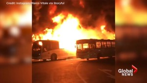 Buses on fire during labour protests in Brazil