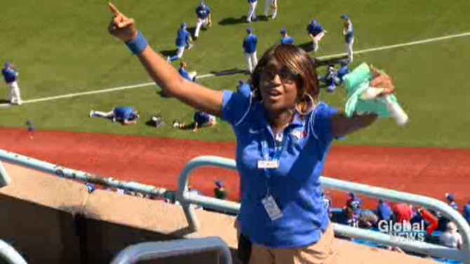 news toronto blue jays usher shares passion for her job energy with fans