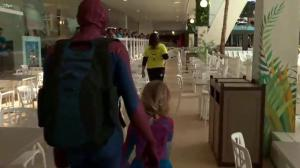 SpiderMable waves to fans at West Edmonton Mall