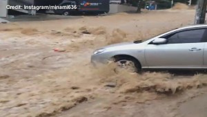 Incredible flash flooding hits Busan in South Korea