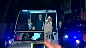 Pope greets crowds from Pope mobile after arriving in Mexico
