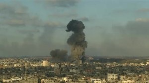 Massive explosion over Gaza Strip from Israeli airstrike