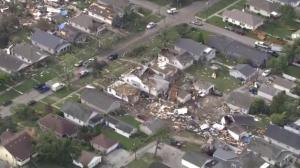 Aerial view shows devastation carved out by path of tornado in Indiana