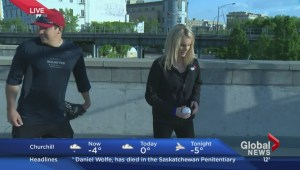 Global's Shannon Cuciz tries to throw like a Winnipeg Goldeye