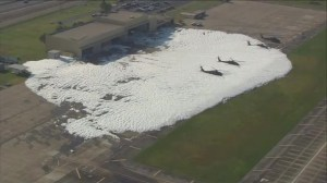 National Guard base covered in foam