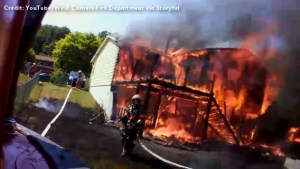 Helmet camera captures massive house fire from a firefighters point of view