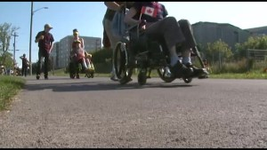 Wheelchair users rally to celebrate the new K&P Trail