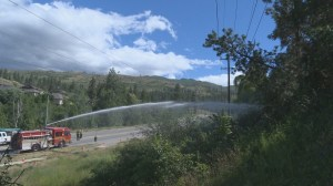 Downed power lines spark fire in Kelowna