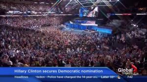 Hillary Clinton secures Democratic nomination, Obama set to speak at DNC