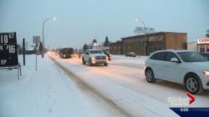 Cold, snowy weather makes for slow Edmonton commute