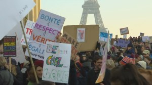 Women in France march for rights in solidarity with Washington protesters