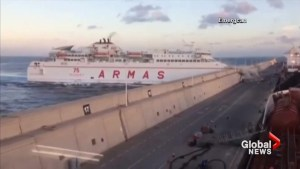 Spanish ferry crashes into concrete wall caught on camera
