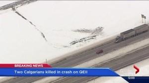 Two Calgarians killed in crash on QEII near Bowden
