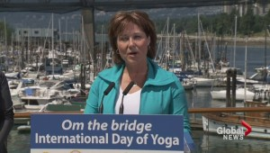 Yoga Day on Burrard Street Bridge