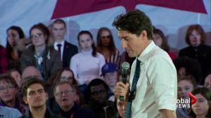 Justin Trudeau defends decision to only speak French at Sherbrooke town hall