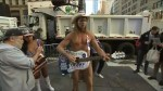 """New York's """"Naked Cowboy"""" , a Trump supporter, performs outside Trump tower"""
