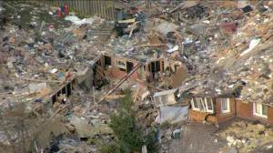 Aerial footage shows extent of damage after Scarborough home explodes