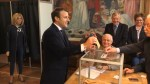 French presidential candidate Emmanuel Macron casts his vote