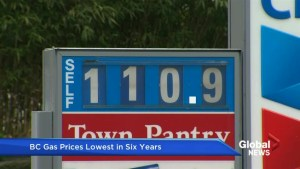 B.C. gas prices lowest in six years