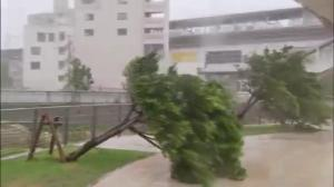 Raw video: Typhoon slams into Okinawa