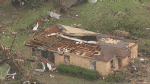 Aerials of tornado damage in Texas town