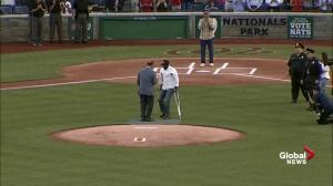 Officer wounded in shooting throws out first pitch at congressional baseball game