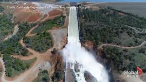 Massive torrent of water as Oroville dam opens it's flood gates for the first time since February