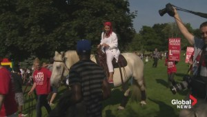 Mayoral candidate Sarah Thomson rides into Ford Fest on a horse
