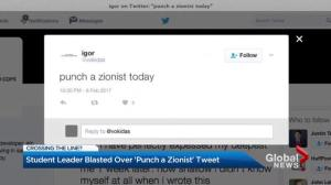 McGill student asks followers to 'punch a Zionist'