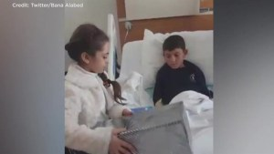 Bana Alabed posts video with Syrian whos lost both legs in an airstrike