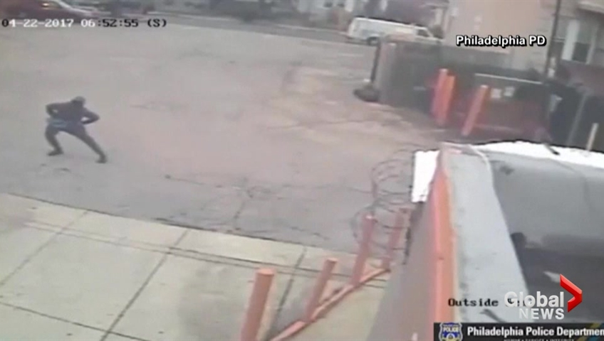 Philadelphia Dunkin' Donuts robber spotted stretching beforehand