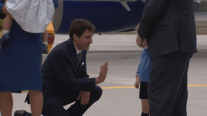 Justin Trudeau gets denied a high five by Prince George