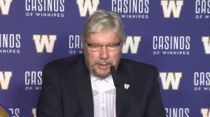 Gene Dunn speaks after being inducted into the 2017 Blue Bombers Hall of Fame