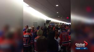 Some upset after women's rooms flipped into men's rooms at Oilers game