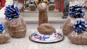 Deflated chocolate football raises $20k for charity