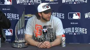 Bumgarner humble after World Series win, manager Bochy numb