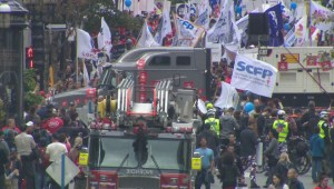 Montreal government workers protest against proposed pension changes
