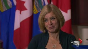 Premier Rachel Notley speaks about Jim Prentice
