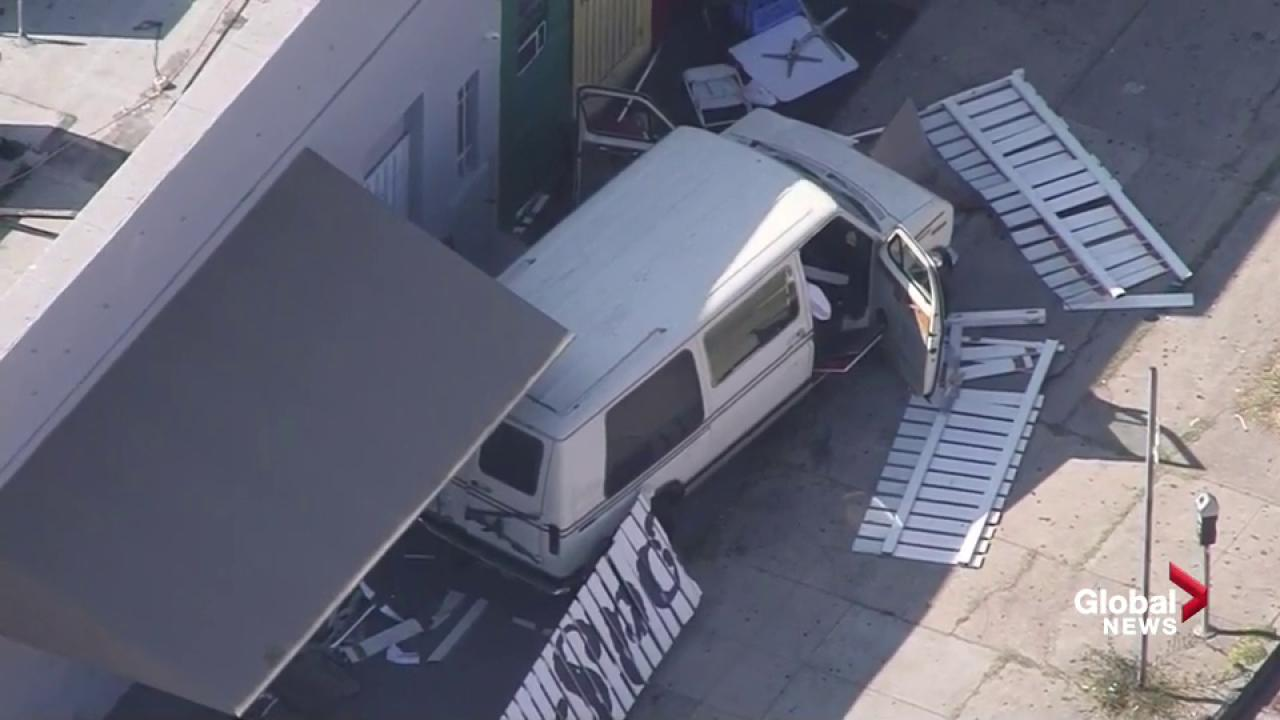 Van plows into crowd outside LA restaurant; 9 injured, driver arrested