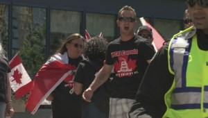 Heavy police presence in Calgary as anti-Islam group clashes