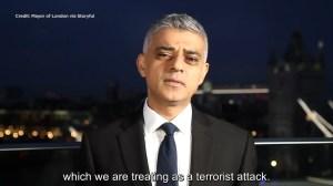London mayor sends condolences after deadly terror attack