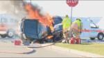 Three people killed in fiery motorcycle, SUV crash in Burlington